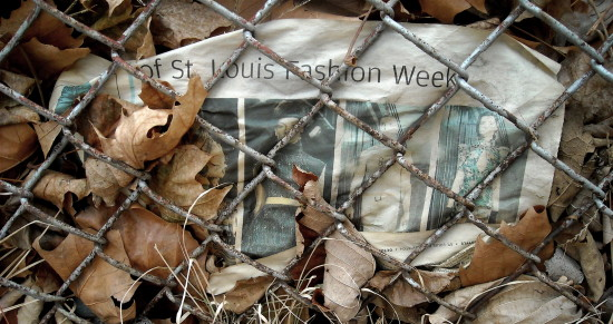 newspaper litter trash chainlink fence leaves