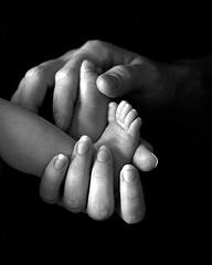 family baby newborn black white BW feet hands
