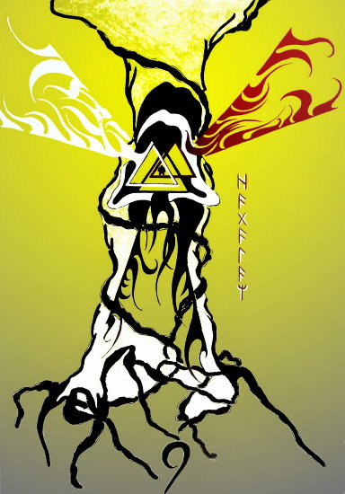 hagal rune red tree hood beams fire triangle sky earth roots nine yellow white