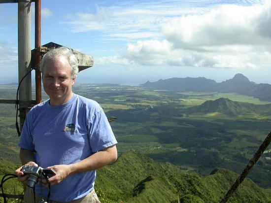 Here I am at Mt. Kahili, 2900 feet above SE Kaua'i. This is the transmitter site for KKCR 91.9 FM...