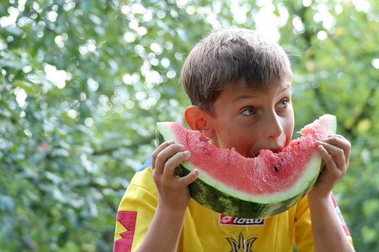 boy water melon colourful summer eating food