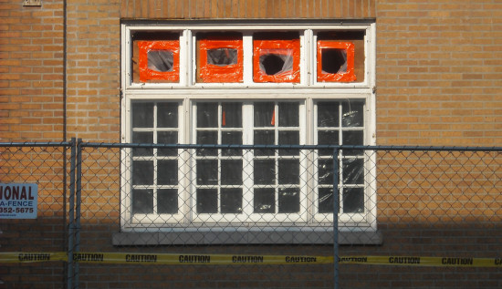 wall chainlink fence window orange