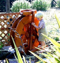 boy water wheel garden