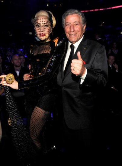 Gaga and Tony Bennett both looking cute together at the 54th annual grammy awards, their duet tog...