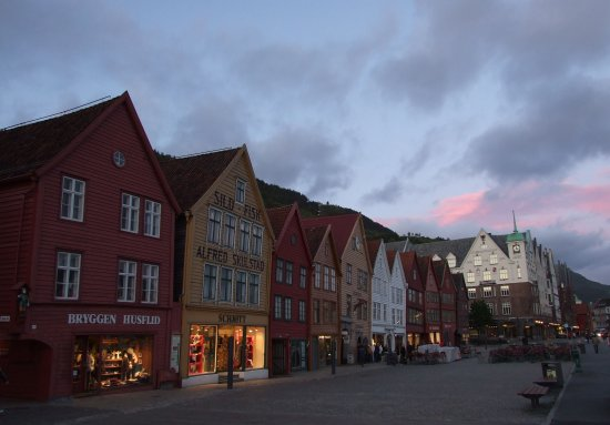 bergen evening buildings architecture