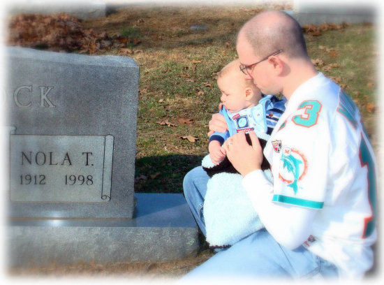 This was back in November, me and my son at my Grandma's grave site.