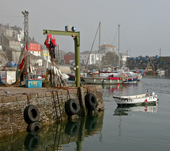 Mevagissey Cornwall UK Sea Coast Quey Boat Moored Harbour
