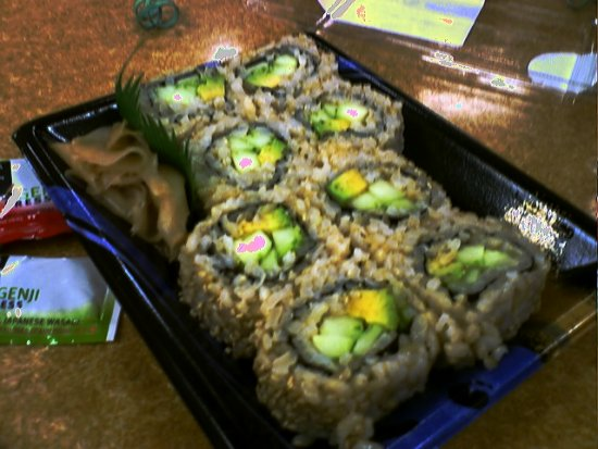 Avocado and cucumber brown rice sushi with camera phone spots (1/17/08 ...