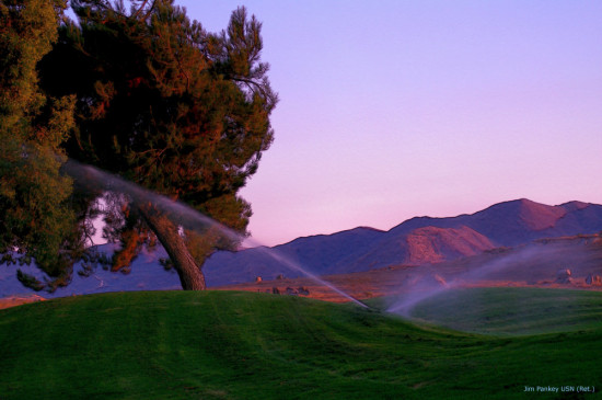 Seven Hills Golf green watering sprinkler sunset landscape pankey wildspirit
