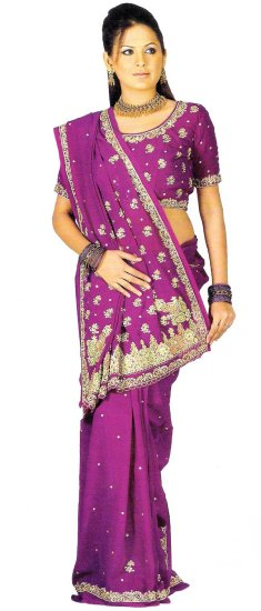 Casual Indian Wardrobe Dark Dealer Magenta Georgette Saree Blouse with