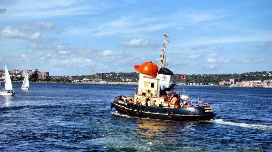 Theodore Too tugboat between Halifax and Dartmouth in Nova Scotia