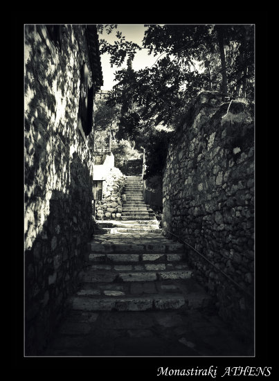 monastiraki greece athens tourists path bw