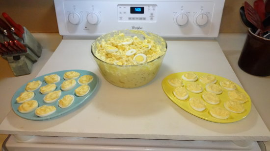 Getting ready for Easter dinner tomorrow, I made potato salad and deviled eggs so far...