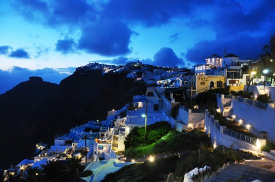 Santorini Greece Cliff night view nikon d90