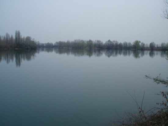A lake in the fog.