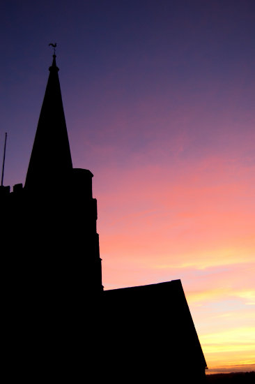 silhouette archiecture hatherleigh church sunset