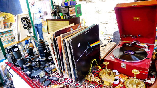 old record player cameras junk street market