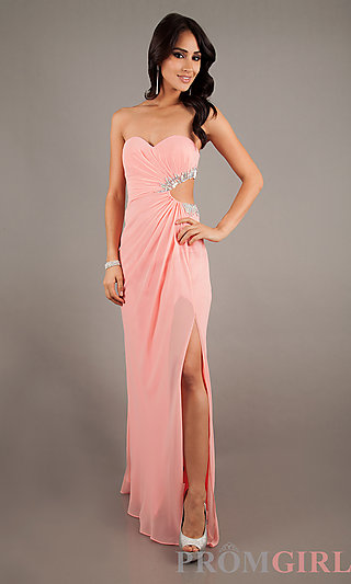 Sweetheart pink chiffon Strapless Gown