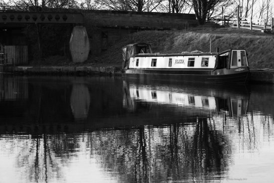 barge reflection Aire and Calder Canal