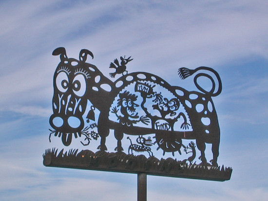 sculpture funfph markbulwinkle cow clouds sky