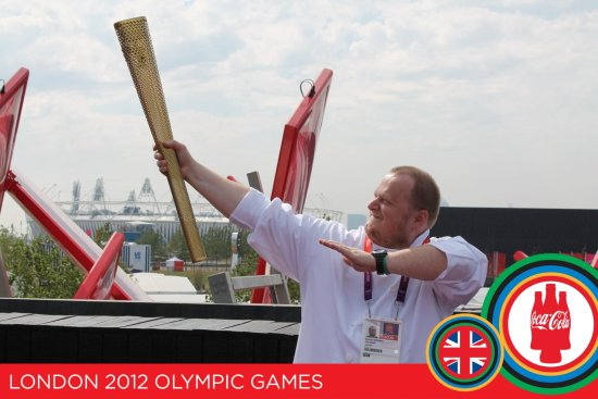 Olympics London chef torch flame sports memory coca cola coke