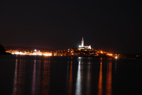rovinj istra by night from the taxiboat