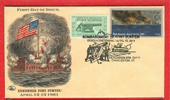 Stamps First Day Covers Civil War Ft Sumter
