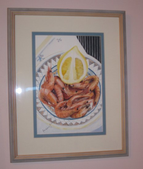 prawns lemon watercolour