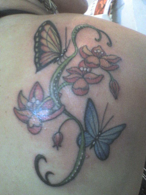 Taken: 2009:12:13 22:24:29. Manufacturer: Sony Ericsson Camera: W300i Flash: No. Tattoo ,borboletas e ramo de flores.