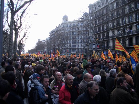 demonstration barcelona catalonia catalan countries city people poltics