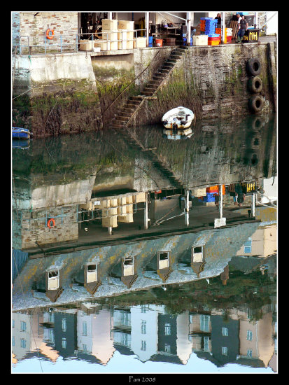 reflection mevagissey harbour boat sea house