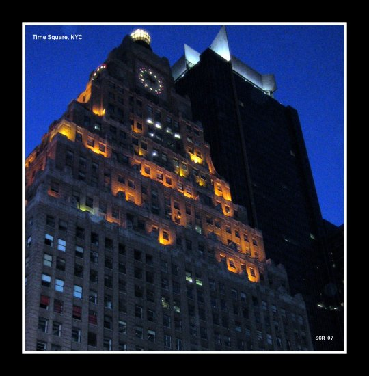 NYC Time Square Architecture Clocks Buildings Lights Sunset Night shae