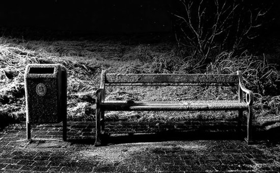 frozen bench konni27 Iceland Reykjavik nature ice snow night