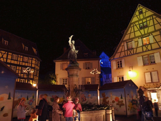 Xmas colmar lights alsace france houses market