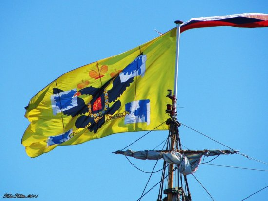 Shtandart Ship Flag 1999 Copy 1703 Halmstad Russian Yellow 2011 August
