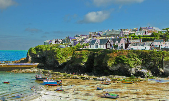 8105 Manipulated Cornwall PortIsaac UK Sea Coast Harbour Beach