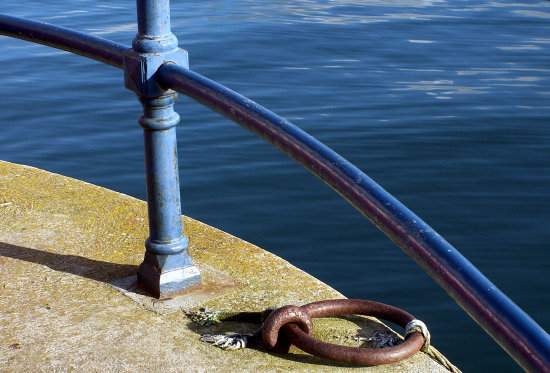 railings rail sea coast blue minimal