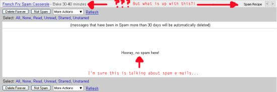 google gmail email spam recipe funny weird