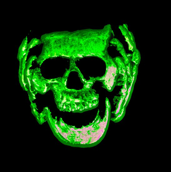 night glow skull green