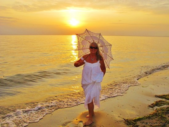 P Naked beach Skane Sweden September 2012 Sunset White Dress