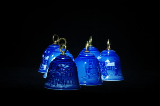 blue porcelain bells