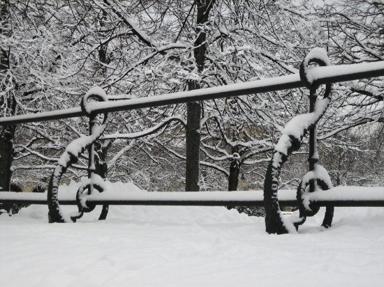 Snow Winter Munich Hofgarten Railings
