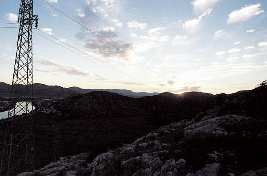 sunset in the valley of river Neretva, winter 2003