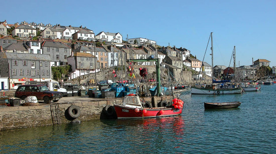 8421 Manipulated Cornwall UK Mevagissey Sea Coast Harbour Quay Boat Moored