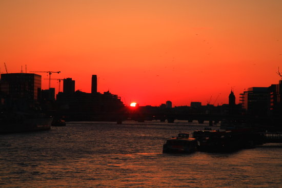 Sunset over TheThames river in London