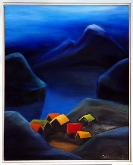 painting houses village mom art artist blue colours dusk mountains