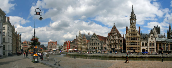 Panorama of Graslei Ghent