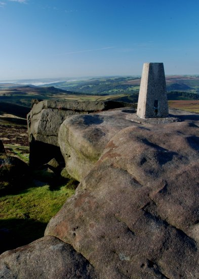 Peak District Derbyshire Stanage Trig