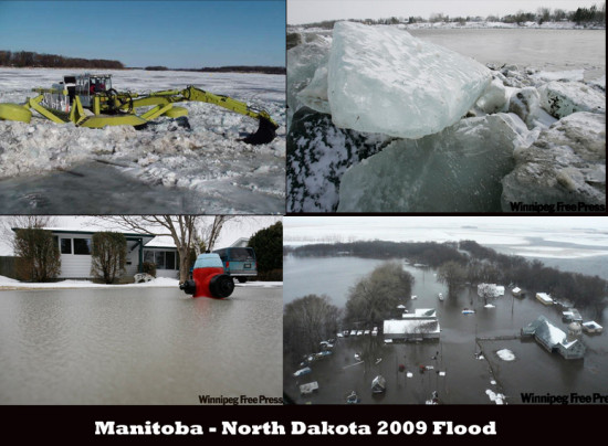 Flood 2009 Manitoba NorthDakota icedams water redriver