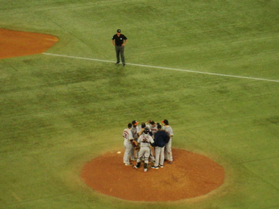 At 8:57pm.Houston Astros-out on the field at Rogers Centre-Toronto,Ont.,On Friday,July 26,2013